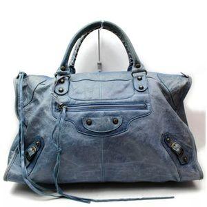Balenciaga Giant City Blue Leather Brief Case Bag